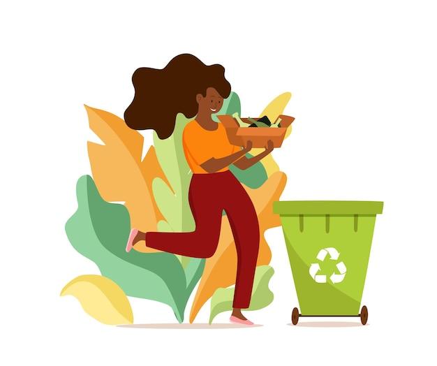 Giovane donna afroamericana che getta immondizia di vetro in contenitori illustrazione vettoriale. concetto di gestione dei rifiuti con ragazza ecologica che ordina i rifiuti in diversi serbatoi.