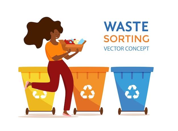 Giovane donna afroamericana che getta immondizia di plastica in contenitori illustrazione vettoriale. concetto di gestione dei rifiuti con ragazza ecologica che ordina i rifiuti in diversi serbatoi.
