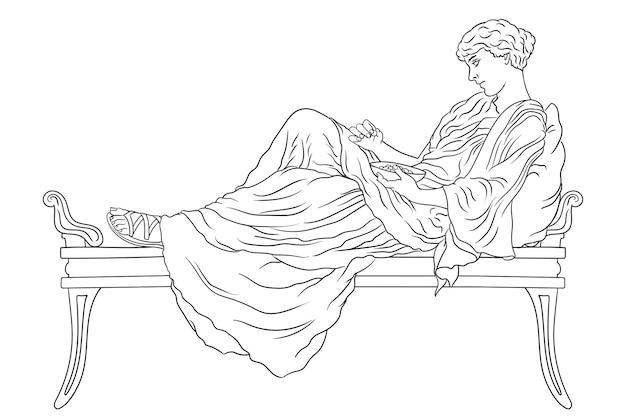 Una giovane donna greca antica giace sul letto con un cuscino e mangia la frutta dalla ciotola isolata.