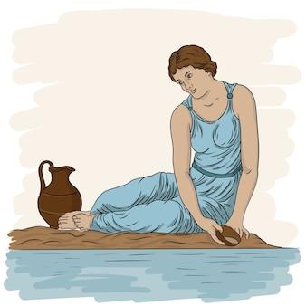 Una giovane donna greca antica siede sulla riva del fiume con una ciotola e raccoglie l'acqua in una brocca
