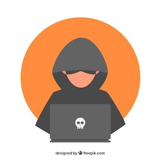 Giovane hacker anonimo con design piatto