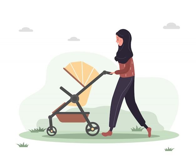 Giovane donna araba che cammina con il suo bambino appena nato in una carrozzina. ragazza in una passeggiata con un passeggino e un bambino nella natura all'aria aperta. illustrazioni in stile piatto.