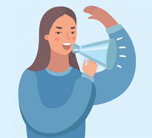 Giovane donna asiatica di affari con l'altoparlante che fa un annuncio. donna di affari che fa un annuncio tramite un altoparlante. illustrazione su sfondo bianco.