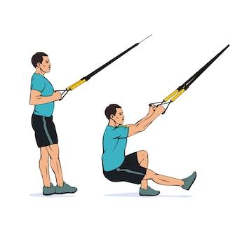 Giovane atleta che fa squat su una gamba utilizzando il sistema trx dell'istruttore di sospensione