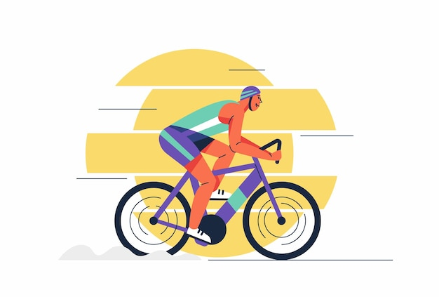 Giovani atleti uomo in casco e abbigliamento sportivo in bicicletta durante il tour in bicicletta