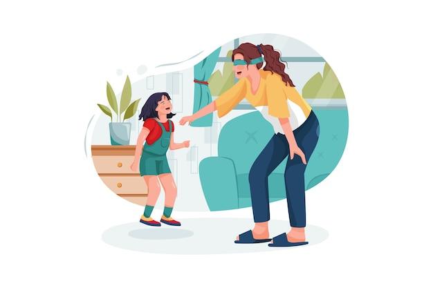 Tata giovane baby sitter che gioca un gioco divertente con la ragazza del bambino a casa