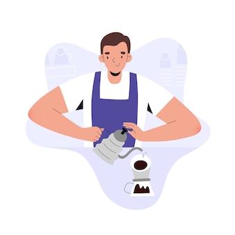 Uomo giovane barista che fa il caffè