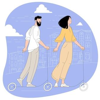 Giovane uomo barbuto e donna in sella allo scooter elettrico