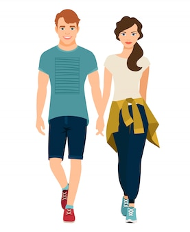 Giovane bella coppia in abito di stile sportivo. illustrazione vettoriale