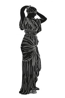 La giovane bella ragazza in una tunica raddrizza i suoi capelli. disegno di vettore di stile del greco antico isolato su bianco