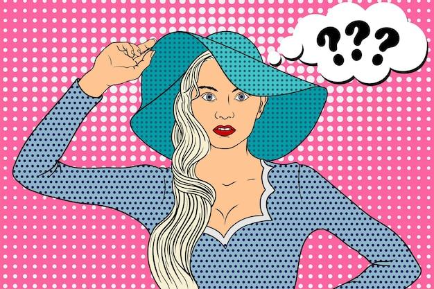 Giovane bella donna in cappello a tesa larga sembra in stile pop art in modo interrogativo