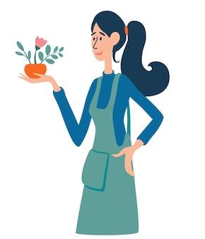 Una giovane bella donna tiene in mano un vaso con una pianta. negozio di fiori, impiegato di negozio di fiori. giardinaggio, hobby, attività primaverile, campagna. illustrazione piana del fumetto