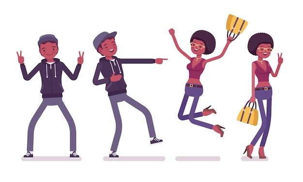 Giovani emozioni positive uomo e donna di colore