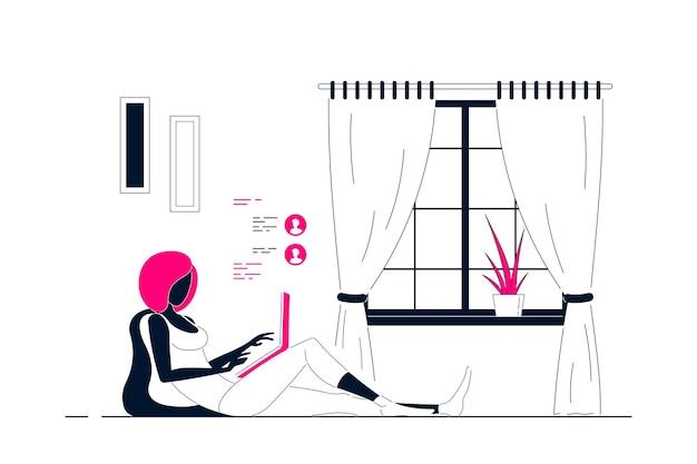 Giovane donna di colore a casa seduta sul pavimento e lavora al computer. lavoro a distanza, home office, concetto di autoisolamento. illustrazione di arte linea stile piatto.