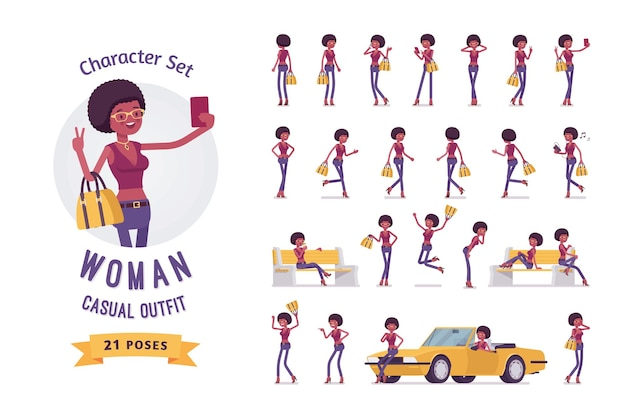 Insieme di caratteri dell'illustrazione della giovane donna di colore