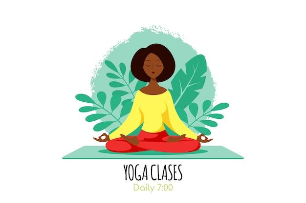 Giovane donna di colore che si siede nella posa del loto con foglie di piante. pratica di yoga e meditazione, ricreazione, stile di vita sano. illustrazione di stile piano isolata