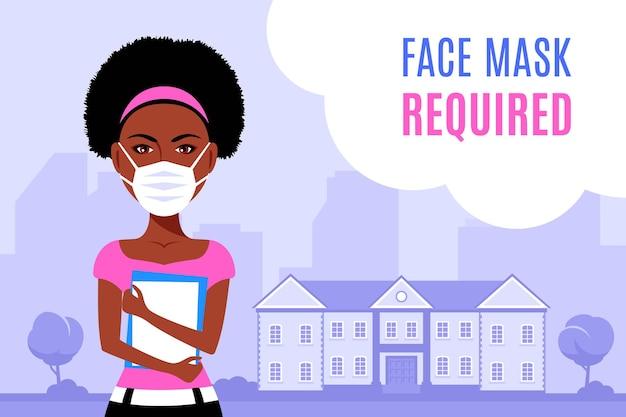 Giovane donna nera che indossa la maschera per il viso e in piedi davanti all'università o all'edificio del college. illustrazione di stile piatto
