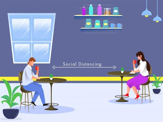 Giovane ragazzo e ragazza che beve tè o caffè al tavolo del caffè con il mantenimento della distanza sociale durante l'epidemia di coronavirus.