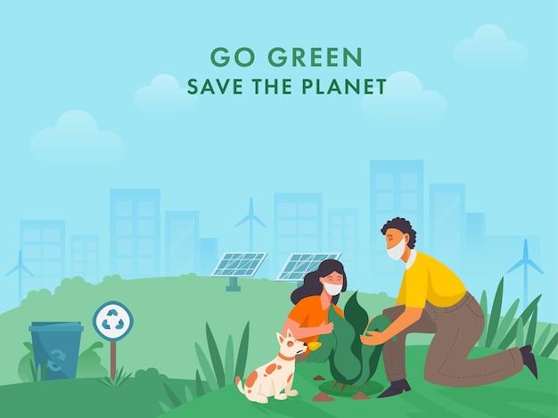 Ragazzo e ragazza che piantano con il personaggio del cane sullo sfondo dell'ecosistema per diventare verdi, salvare il pianeta durante il coronavirus.