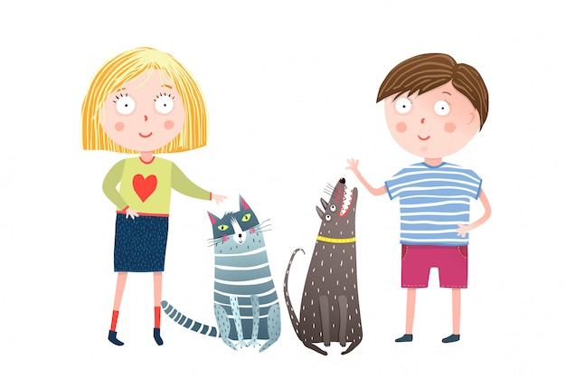 Giovane ragazzo e ragazza con cane e gatto