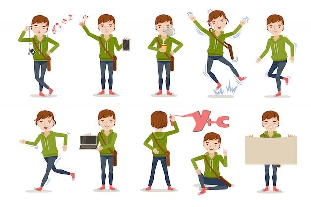 Set di postura giovane ragazzo.