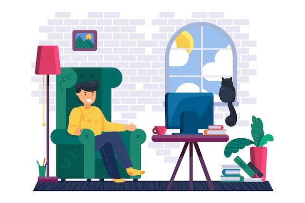 Ragazzo seduto in un'accogliente poltrona e guarda film o serie in streaming sullo schermo televisivo.