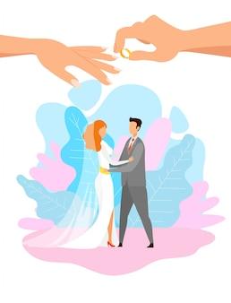 Giovane sposa e sposo che abbracciano personaggi piatti