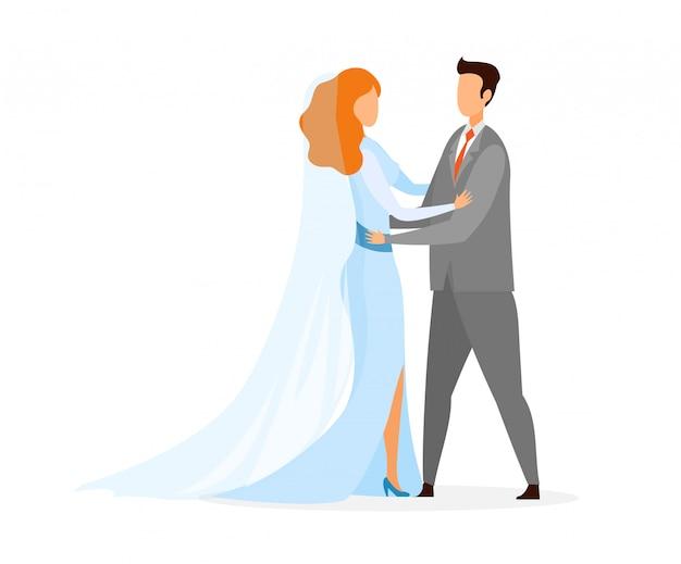 Personaggi di giovane sposa, sposo alla cerimonia di matrimonio