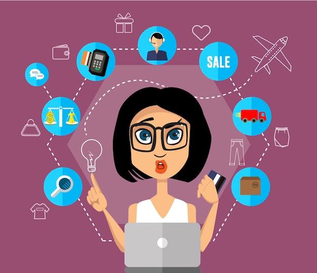 Giovane donna castana in vetri con la carta di credito che fa l'illustrazione piana di concetto di vettore di acquisto online, supporto, ricerca dell'abbigliamento, peso, soldi, consegna, vendita.