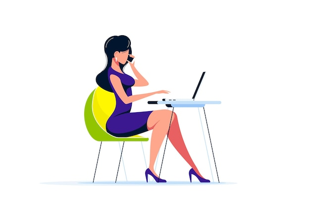 Signora giovane di affari che lavora al computer portatile alla scrivania in ufficio. illustrazione di stile piatto