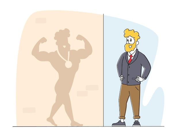 Giovane uomo di affari che osserva sull'ombra sul muro immagina se stesso vincitore sportivo con medaglia. personaggio maschile sorridente, in posa, mostra bicipiti