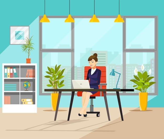 Giovane donna d'affari che lavora nel suo ufficio illustrazione vettoriale in stile piatto