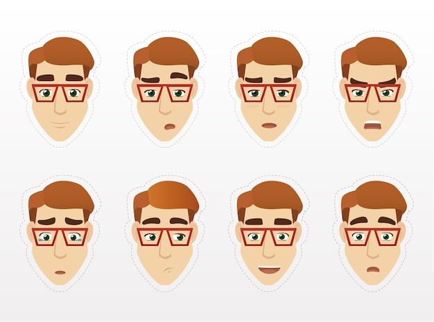 Pacchetto di adesivi per emozioni di giovane uomo d'affari emozioni umane del fumetto di vettore uomini con gli occhiali