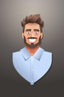 Giovane uomo d'affari viso avatar sorridente uomo d'affari ritratto trendy carta origami arte maschio personaggio dei cartoni animati verticale
