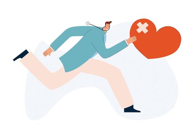 Un giovane cardiologo corre con un cuore malato in mano fornire un'ambulanza a infarction