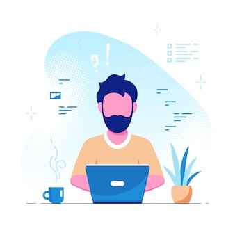 Giovane uomo caucasico che lavora al computer portatile. freelance, lavoro a distanza, studio online, concetto di lavoro da casa. stile piano illustrazione vettoriale.