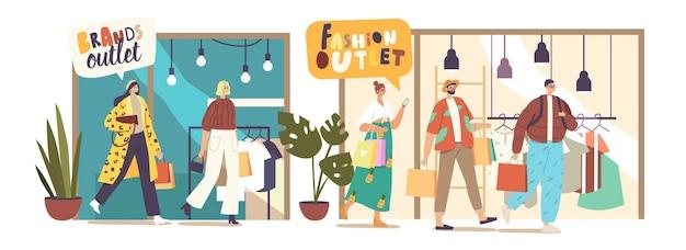 Personaggi giovani tengono borse della spesa colorate in visita a un outlet di moda. persone con pacchi di carta shopping, saldi stagionali, sconti, acquisti di vestiti di marca per gli amanti dello shopping. fumetto illustrazione vettoriale