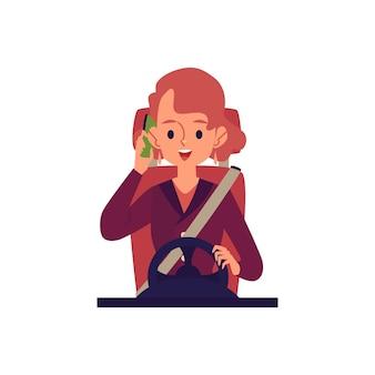 Giovane donna allegra alla guida di un'auto e parlando al fumetto piatto del telefono