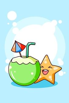 Giovane noce di cocco con le stelle marine nell'illustrazione del fumetto di estate