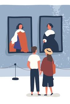 La giovane coppia contempla i dipinti classici nel museo. i visitatori della mostra godono dell'esposizione. uomo e donna che guardano i capolavori nella galleria d'arte. illustrazione vettoriale in stile cartone animato piatto.