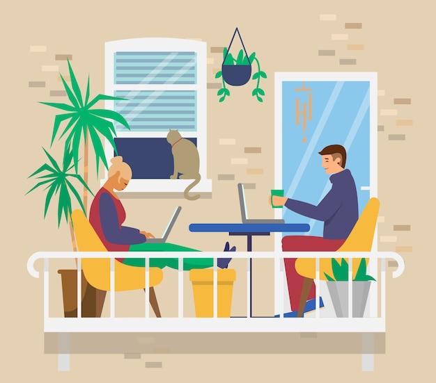 Coppia giovane sul balcone accogliente lavorando o studiando a distanza. ufficio a casa. attività domestiche. piatto