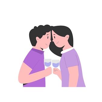 Le giovani coppie bevono insieme l'illustrazione