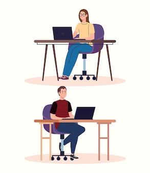 Caratteri di giovani lavoratori freelance coppia utilizzando laptop