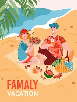 Giovani coppie che hanno un picnic sulla spiaggia del mare tropicale