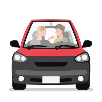Coppia giovane nella sua auto, felice di guidare su una strada