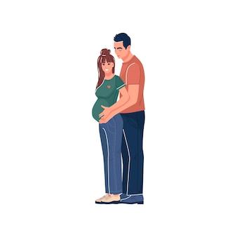 Una giovane coppia si aspetta un bambino felice gravidanza futuri genitori maternità famiglia vettore