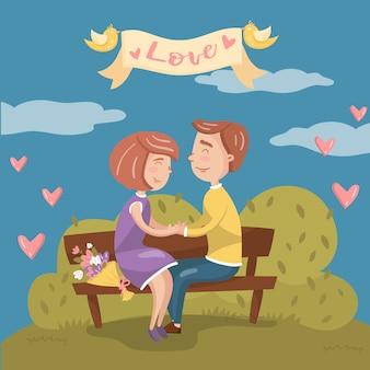 Giovani coppie nell'amore che si siedono insieme sul banco nel parco, carta di giorno di biglietti di s. valentino con l'illustrazione romantica delle coppie