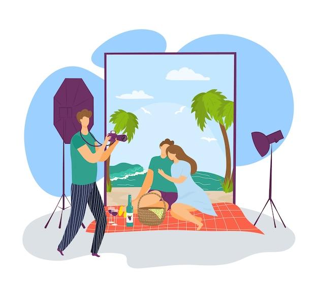 La giovane coppia fa la fotografia alla macchina fotografica