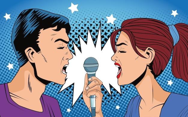 Giovani coppie che cantano con i caratteri del microfono in stile pop art