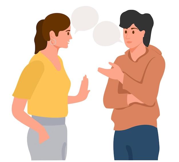 Coppia giovane che parla insieme comunicazione positiva di amici multinazionali persone che comunicano